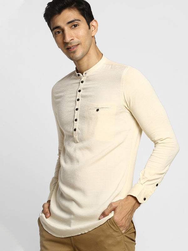 Cream Plain Casual Kurta
