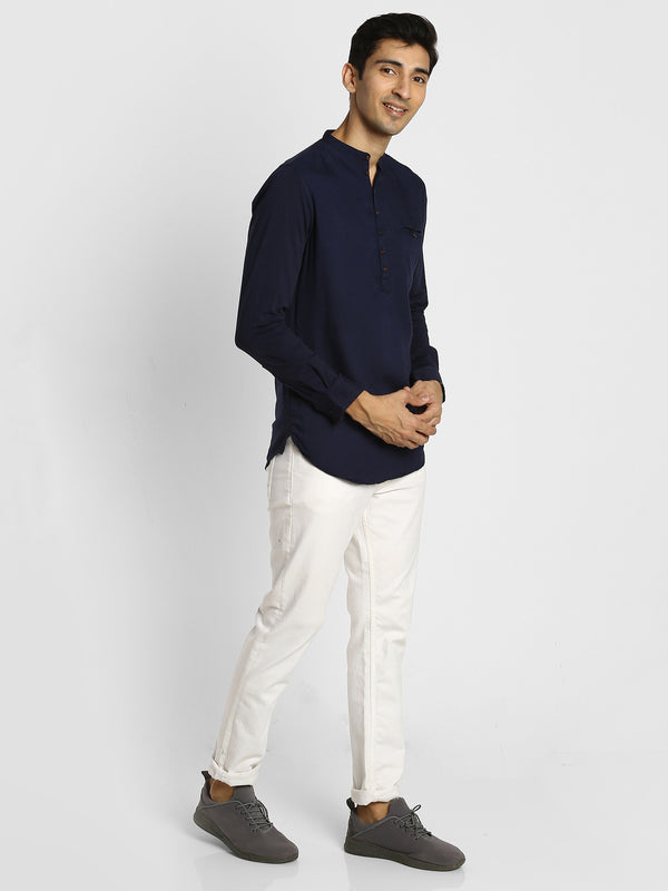 Navy Plain Casual Kurta