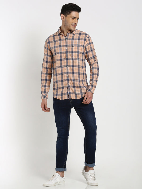 Orange Checked Casual Shirt