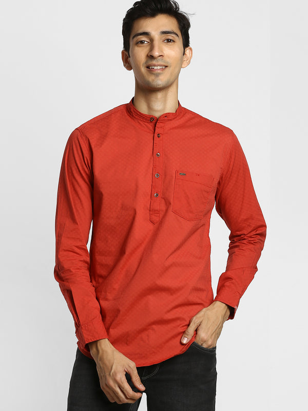 Red Plain Stretch Casual Kurta