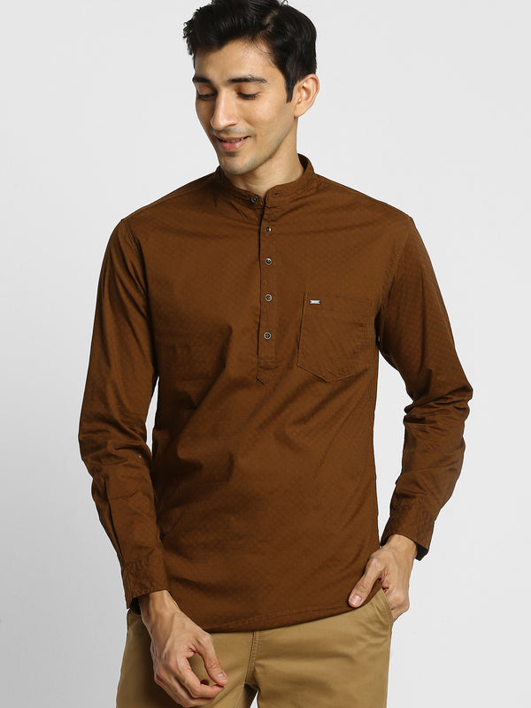Brown Plain Stretch Casual Kurta