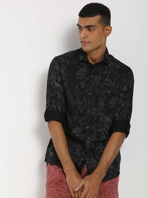 Black Printed Stretch Casual Shirt