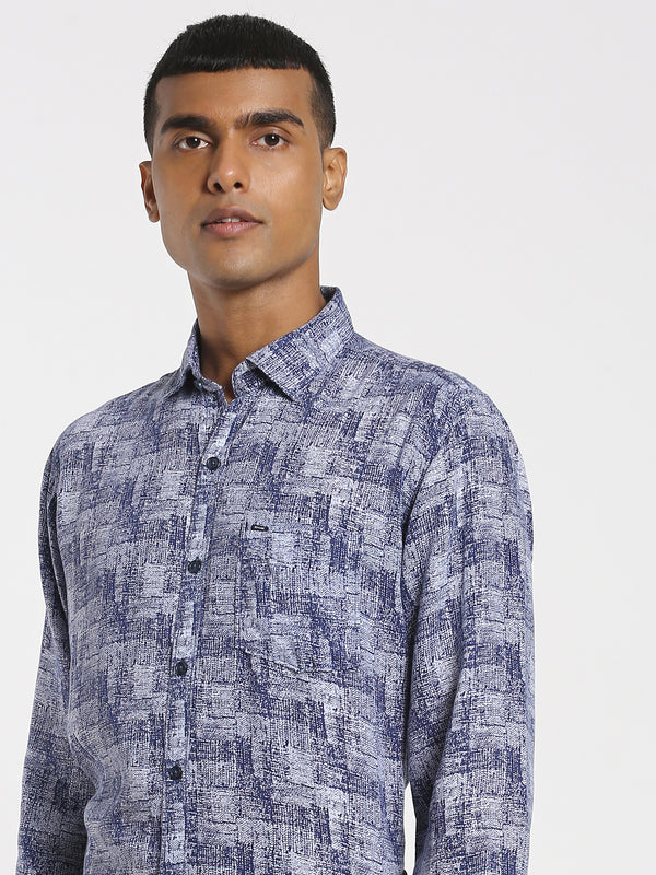 Navy Printed Stretch Casual Shirt