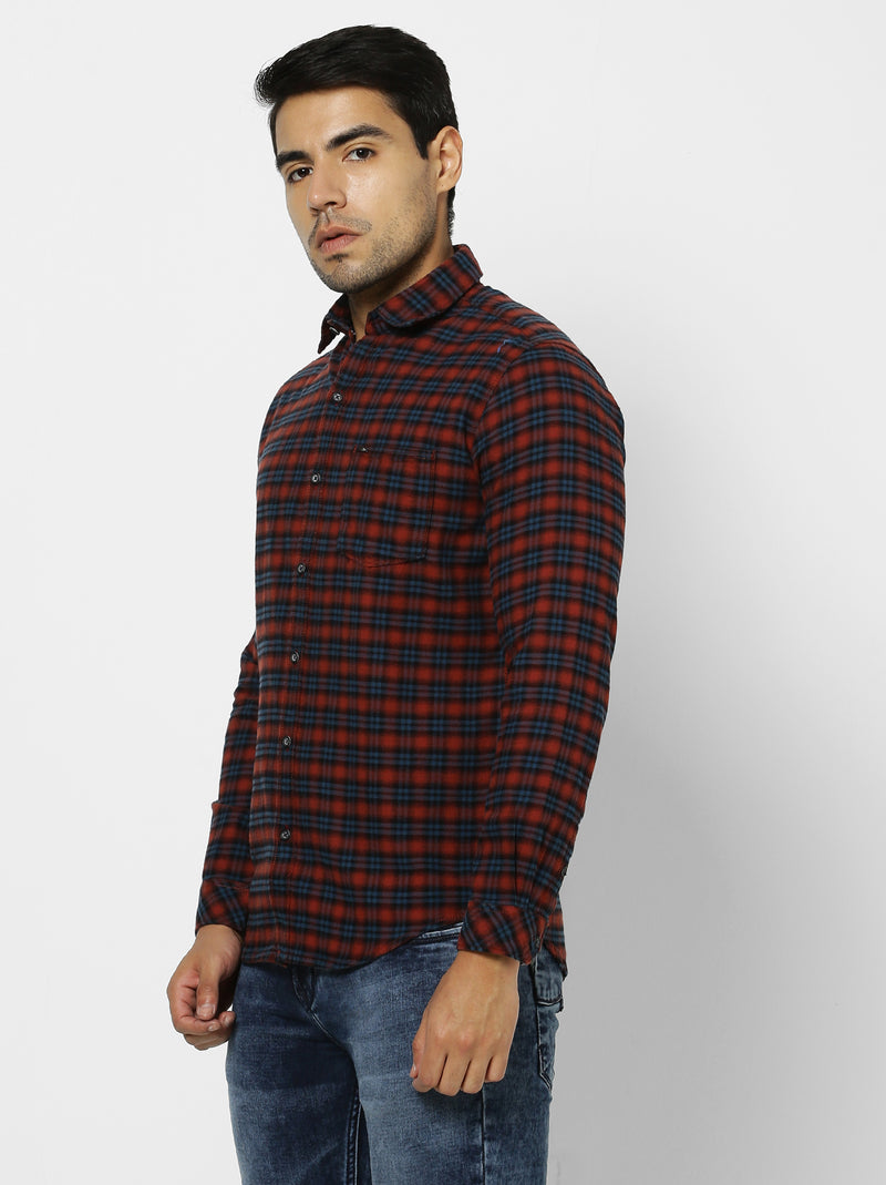 Red Checked Casual Shirt