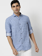 Blue Plain Casual Shirt