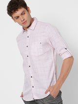Pink Linen Checked Casual Shirt