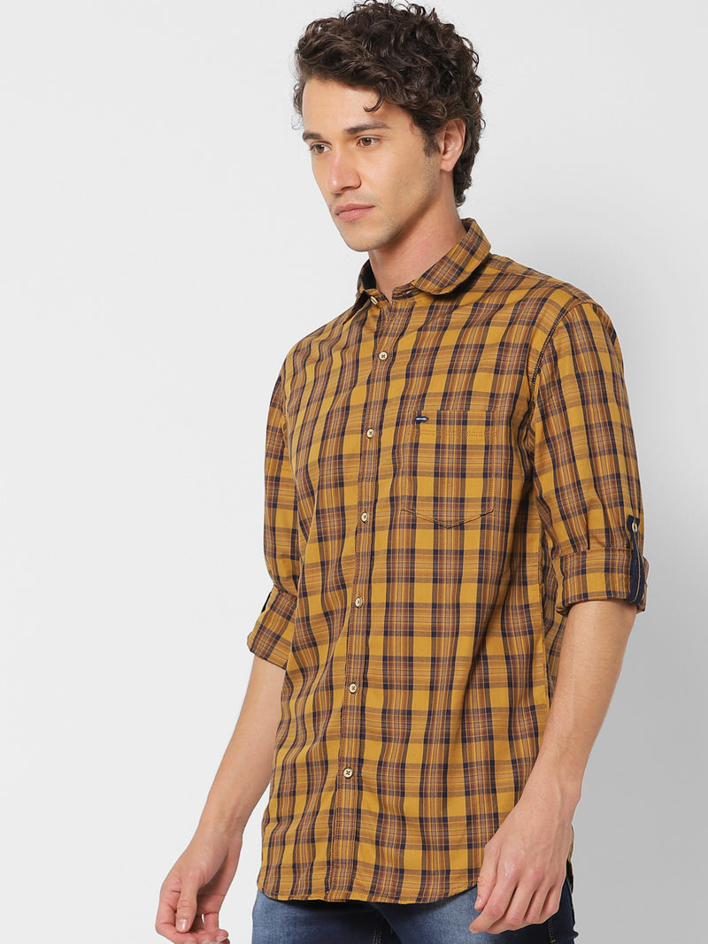 Yellow Checked Casual Shirt