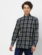 Green Denim Checked Casual Shirt