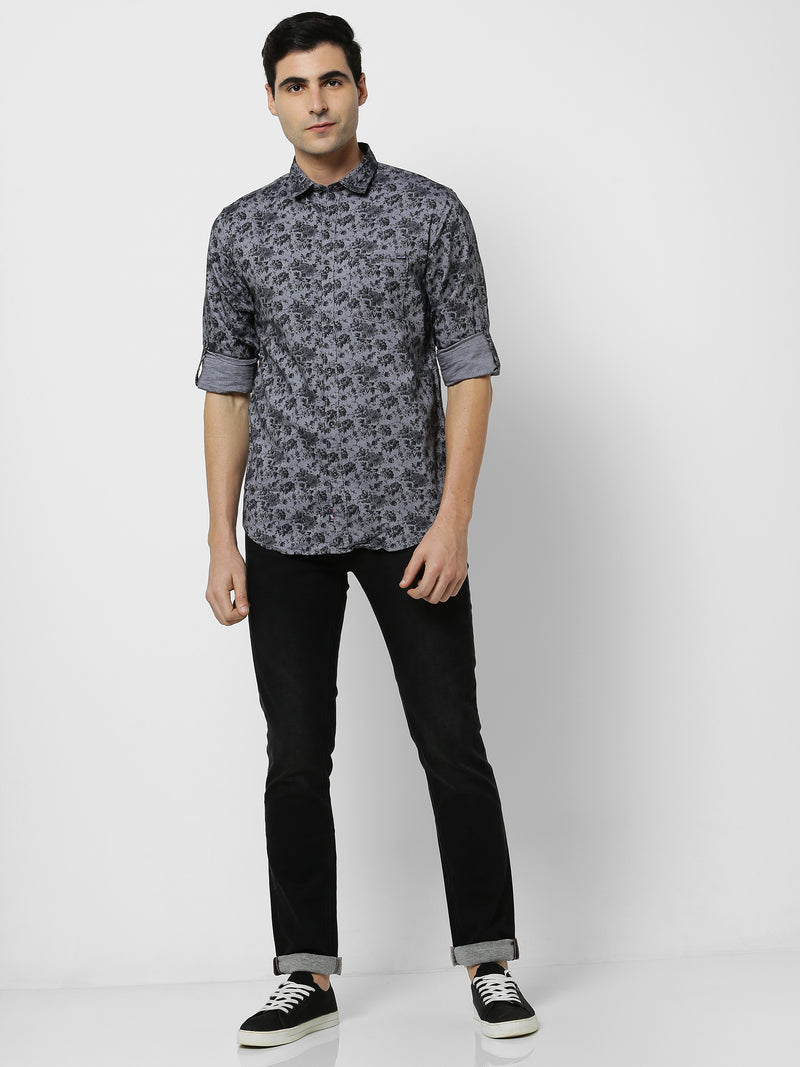 Black Printed Casual Shirt