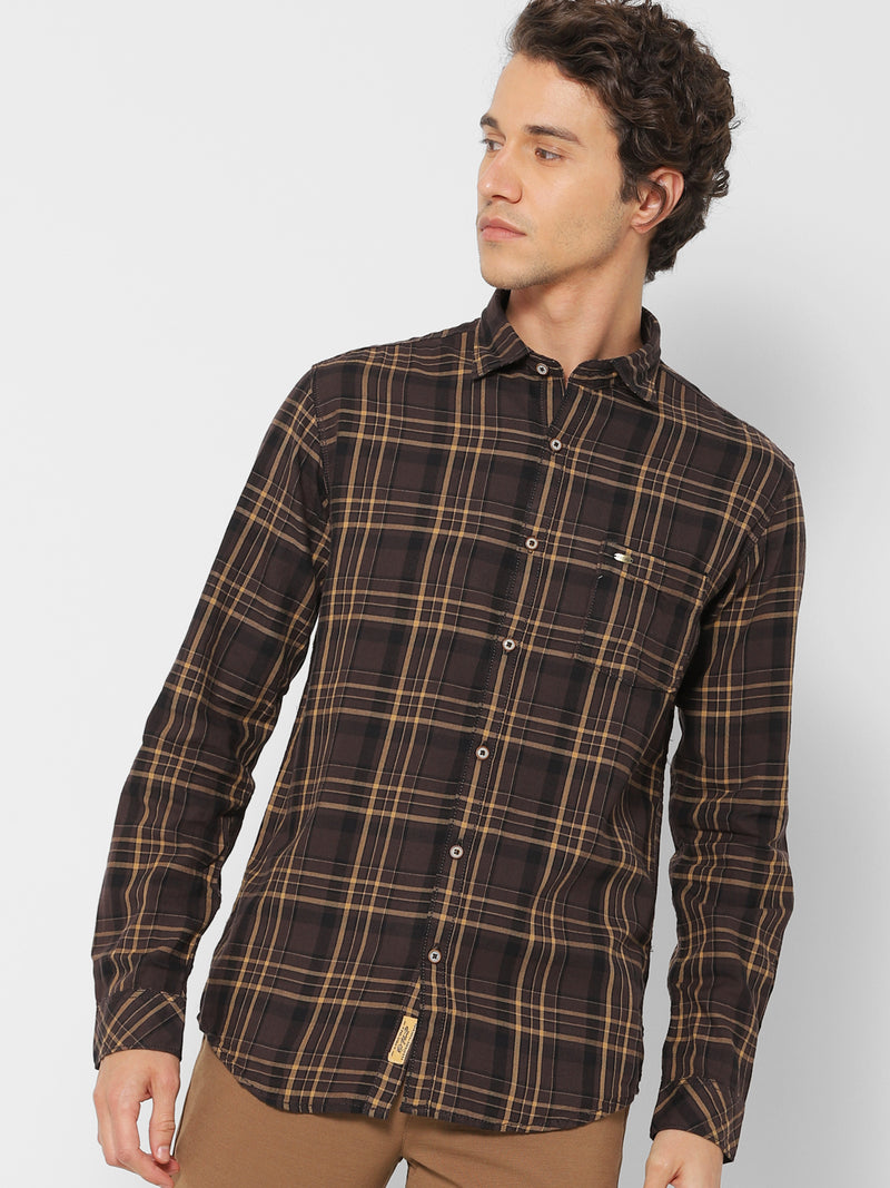 Brown Checked Casual Shirt