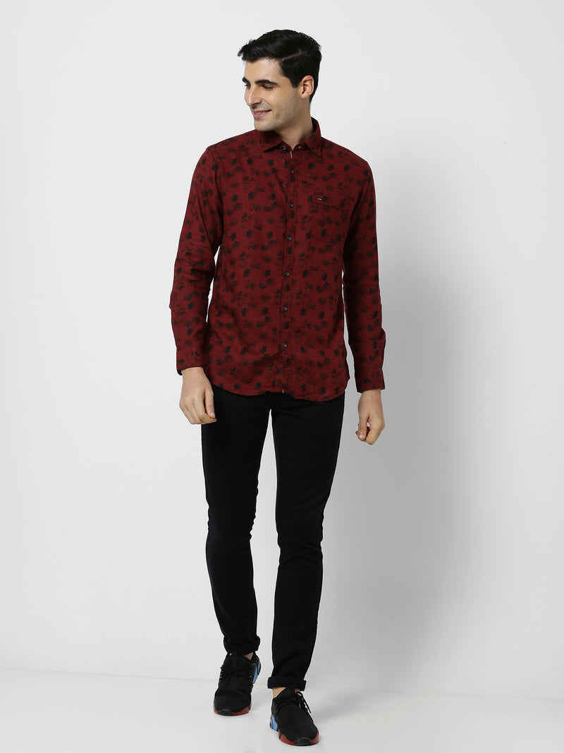 Red Printed Casual Shirt