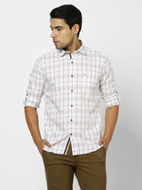 White Checked Casual Shirt