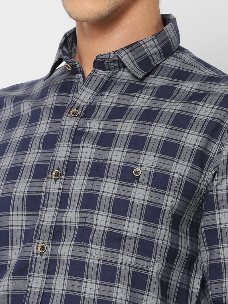 Navy Checked Casual Shirt
