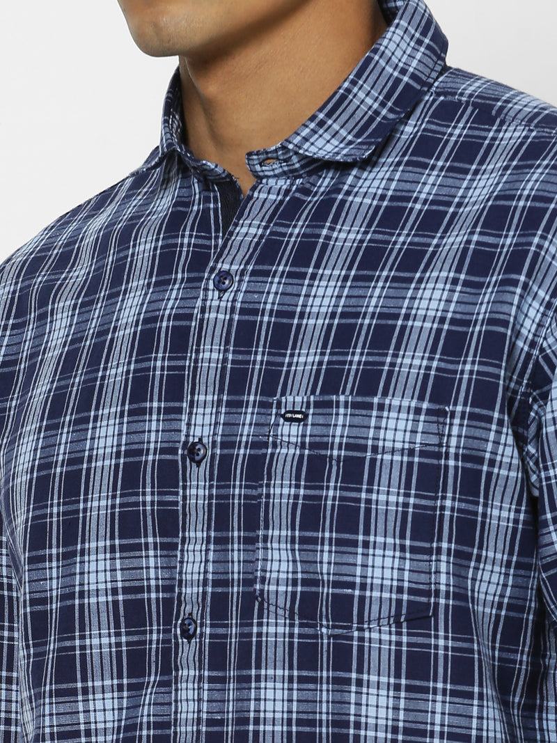 Blue Linen Checked Casual Shirt