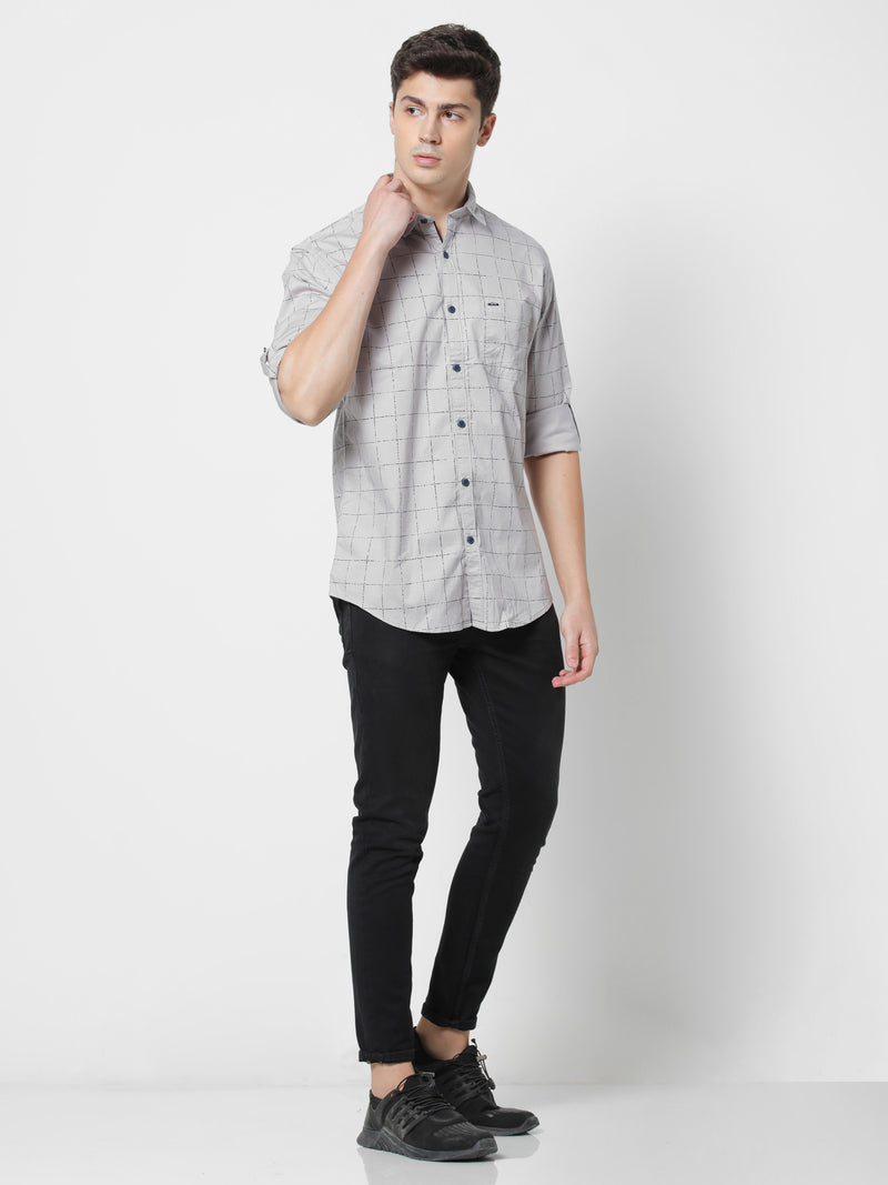 Grey Checked Stretch Casual Shirt