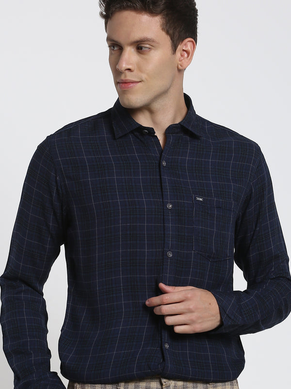 Navy Checked Stretch Casual Shirt