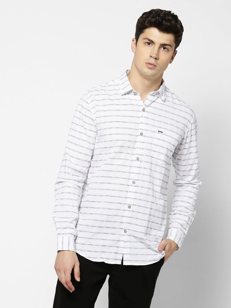 White Striped Casual Shirt
