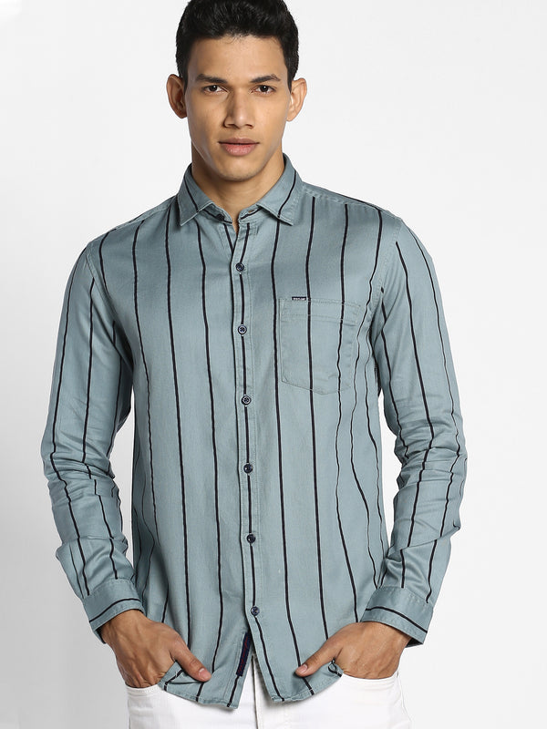 Aqua Green Striped Casual Shirt