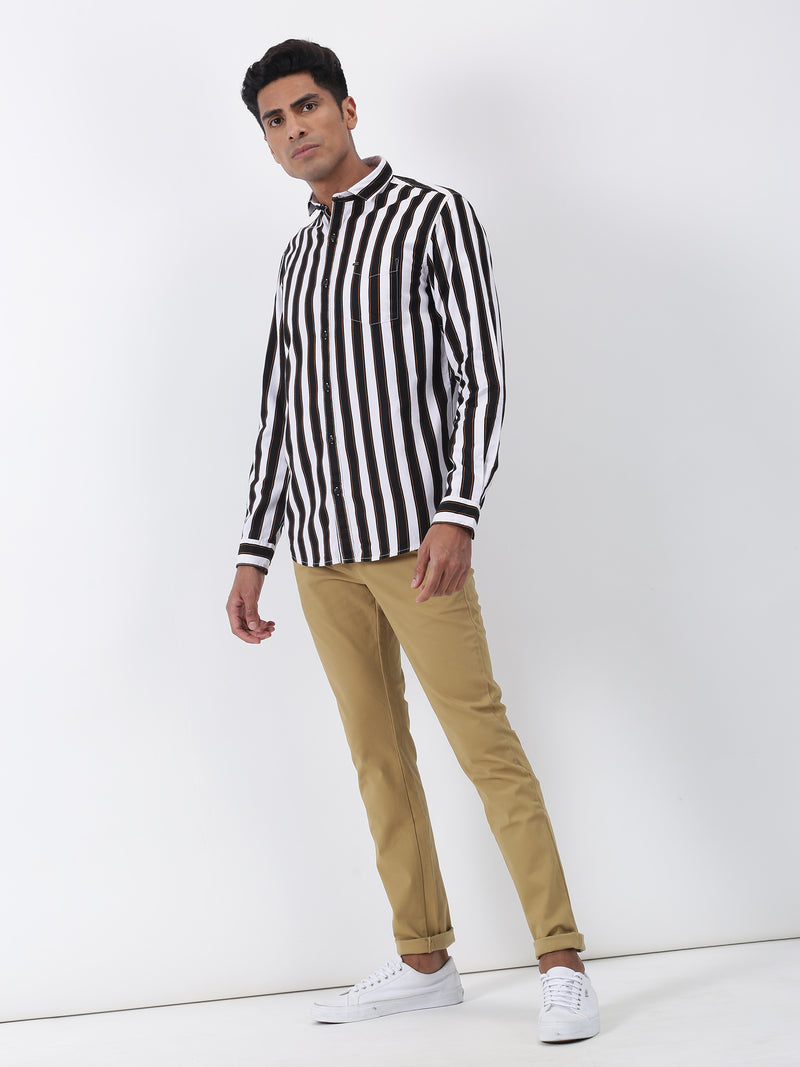 Navy Striped Long Sleeve Casual Shirt