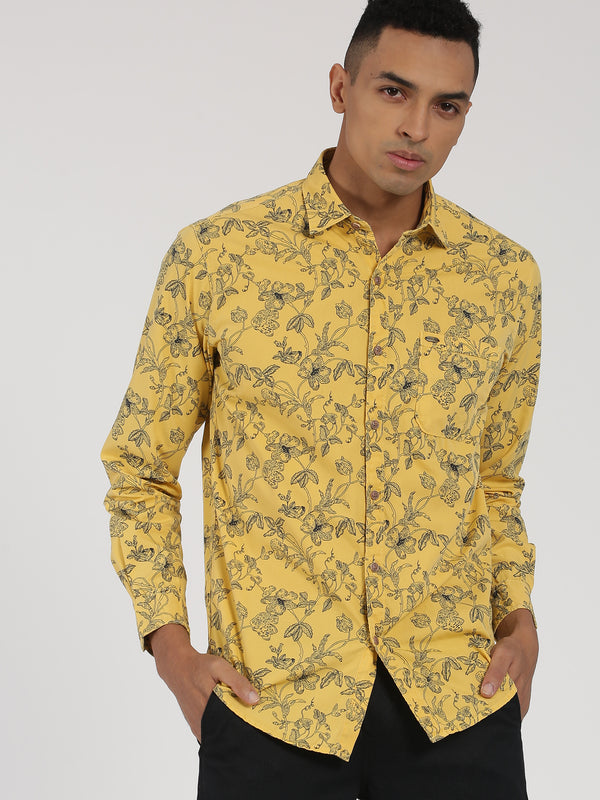 Yellow Printed Long Sleeve Casual Shirt