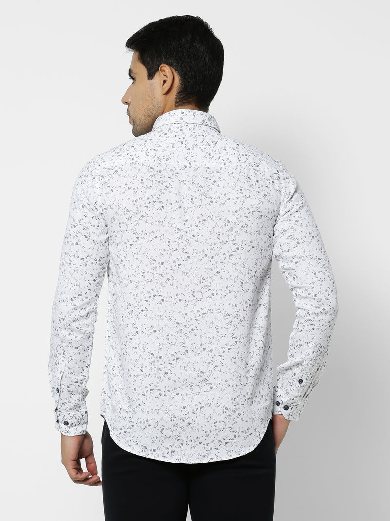 White Printed Stretch Casual Shirt