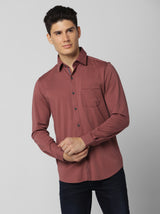Brown Plain Stretch Casual Shirt