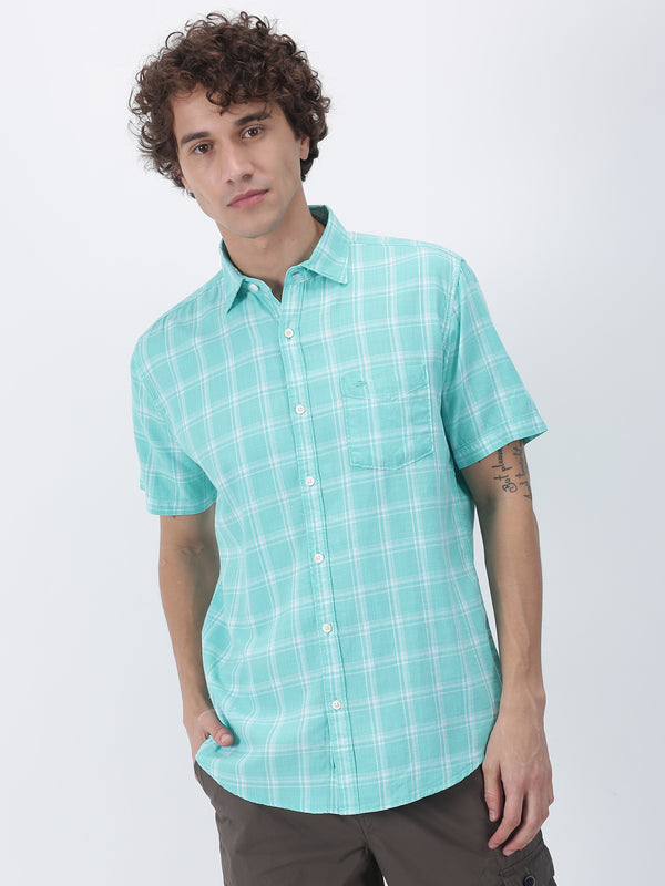 Aqua Blue Checked Short Sleeve Casual Shirt