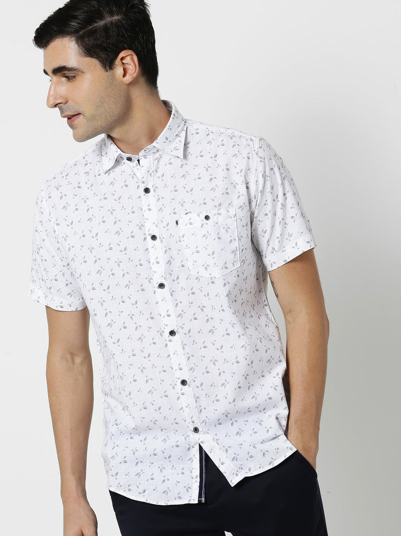 White Printed Casual Shirt