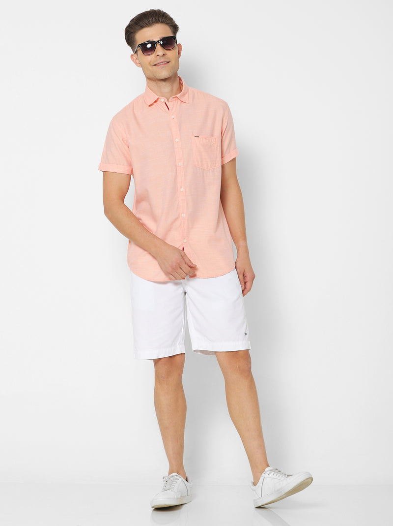 Orange Plain Casual Shirt