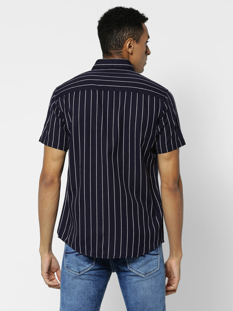 Navy Striped Casual Shirt