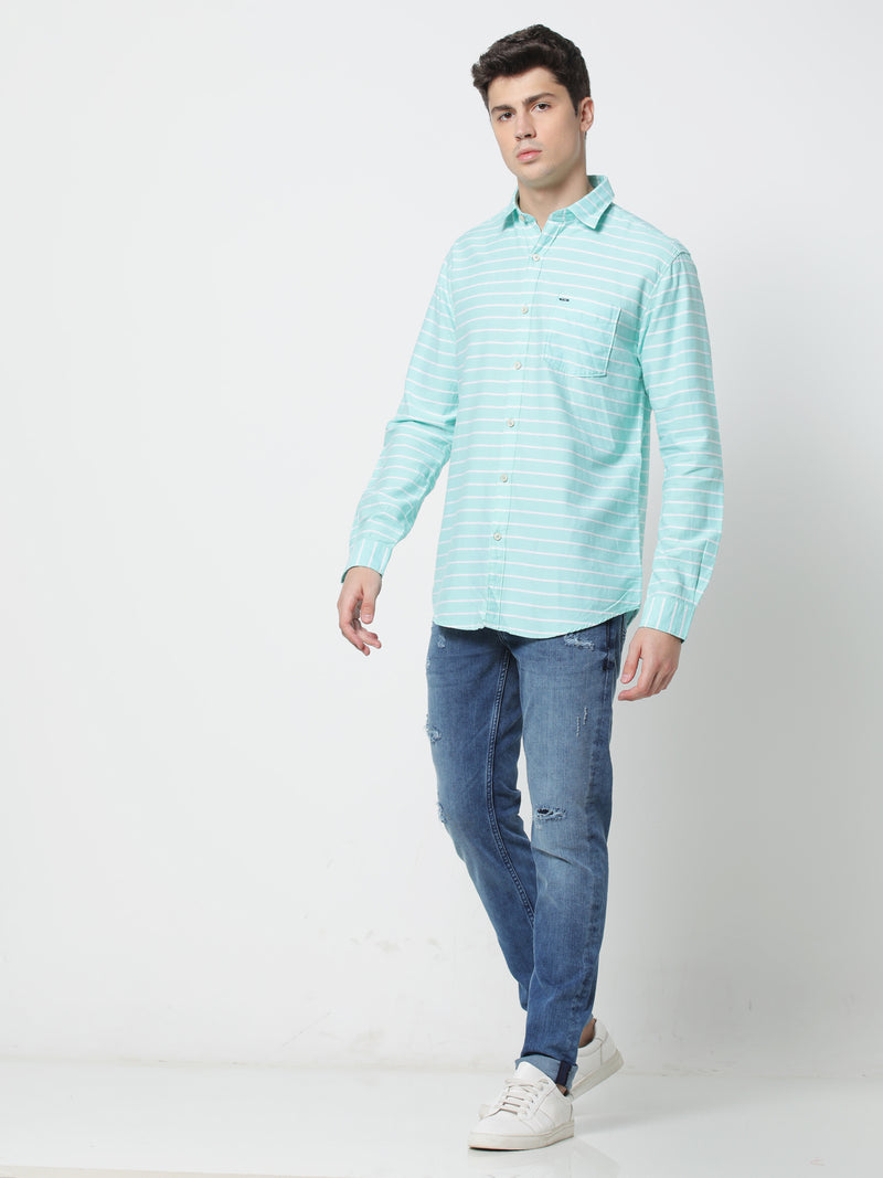 Green Striped Casual Shirt