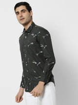 Green Printed Casual Shirt