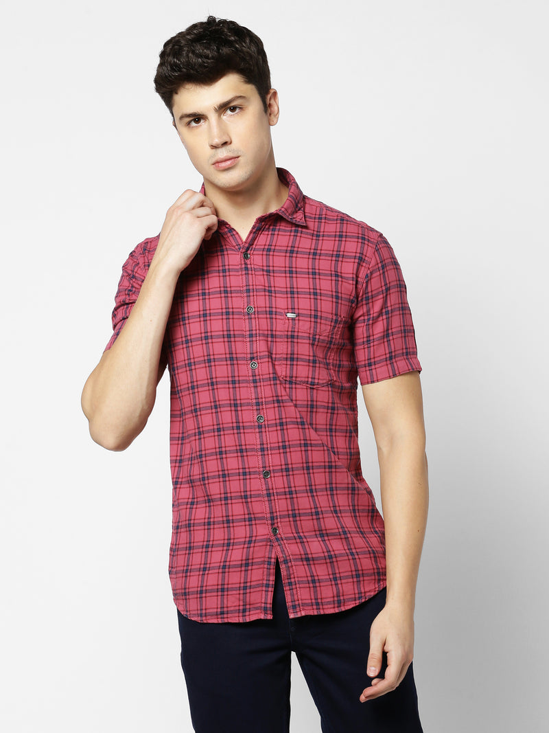 Pink Checked Casual Shirt