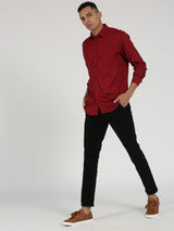 Maroon Printed Long Sleeve Casual Shirt