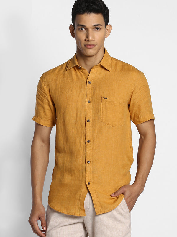 Yellow Plain Linen Casual Shirt