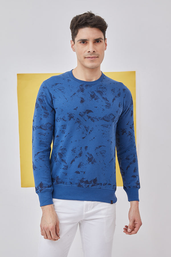 Blue Printed Crew Neck Sweatshirt