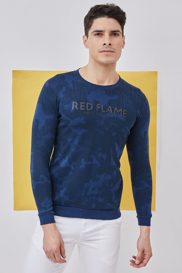 Blue Camo Printed Crew Neck Sweatshirt