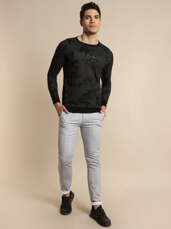 Black Camo Printed Crew Neck Sweatshirt