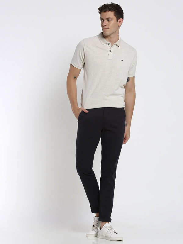 Ecru Melange Plain Polo T-Shirt