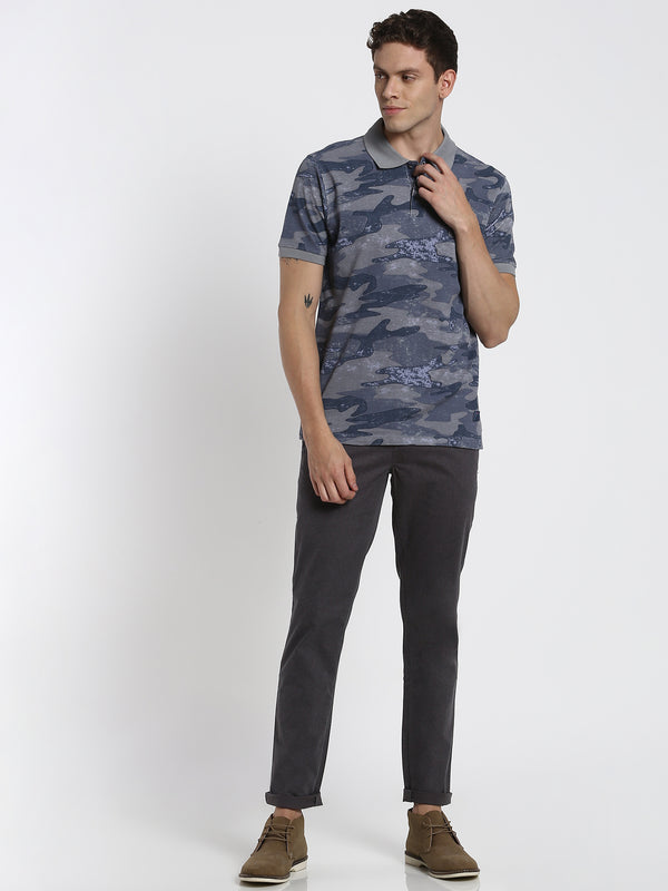 Grey Camo Aop Printed Polo T-Shirt