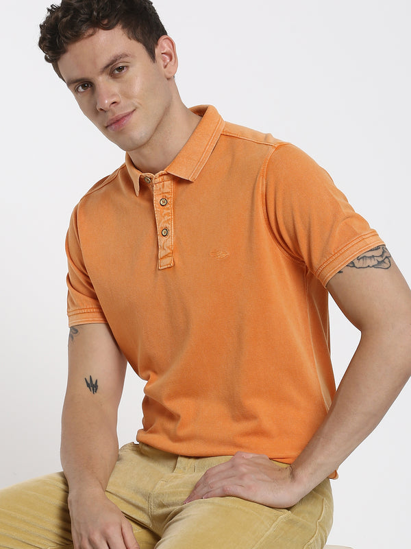 Orange Plain Polo T-Shirt