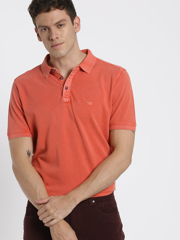 Coral Plain Polo T-Shirt