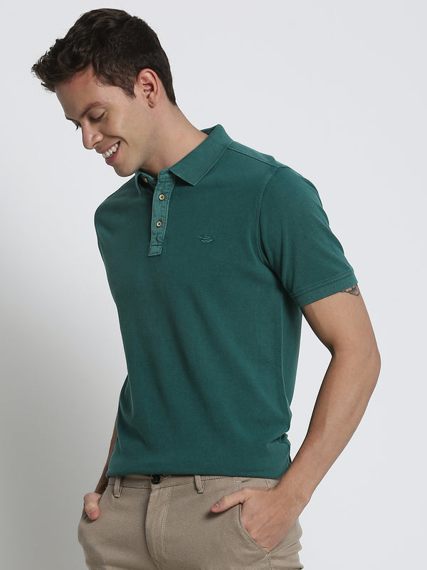 Dark Green Plain Polo T-Shirt