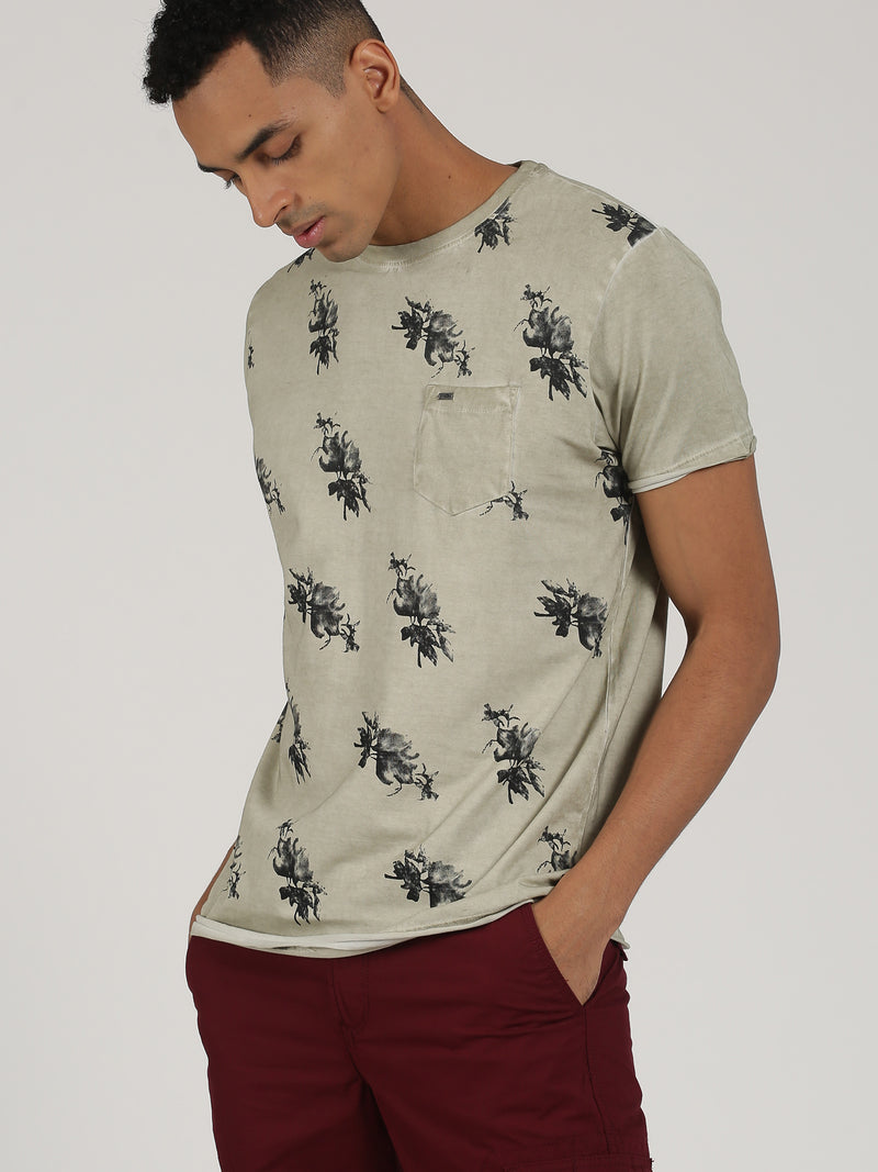 Beige Printed Short Sleeve Casual T-Shirt