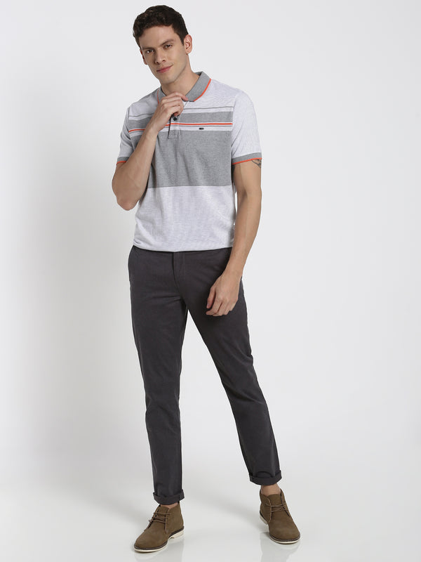 Grey Striped Polo T-Shirt