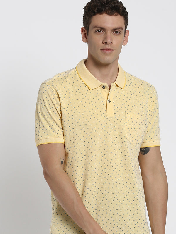 Yellow Printed Polo T-Shirt