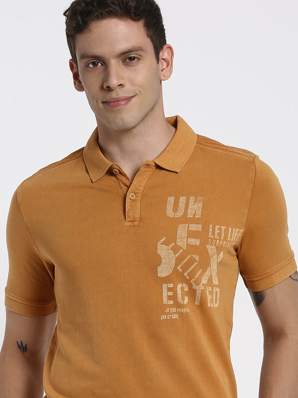 Gold Printed Polo T-Shirt