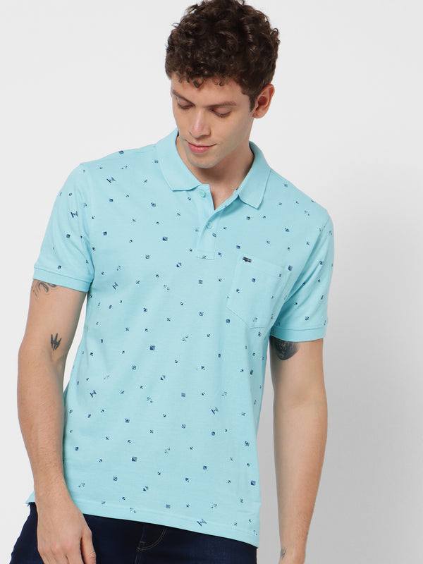 Blue Printed Casual T-Shirt