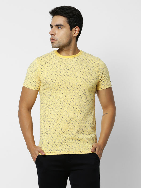 Yellow Printed Casual T-Shirt