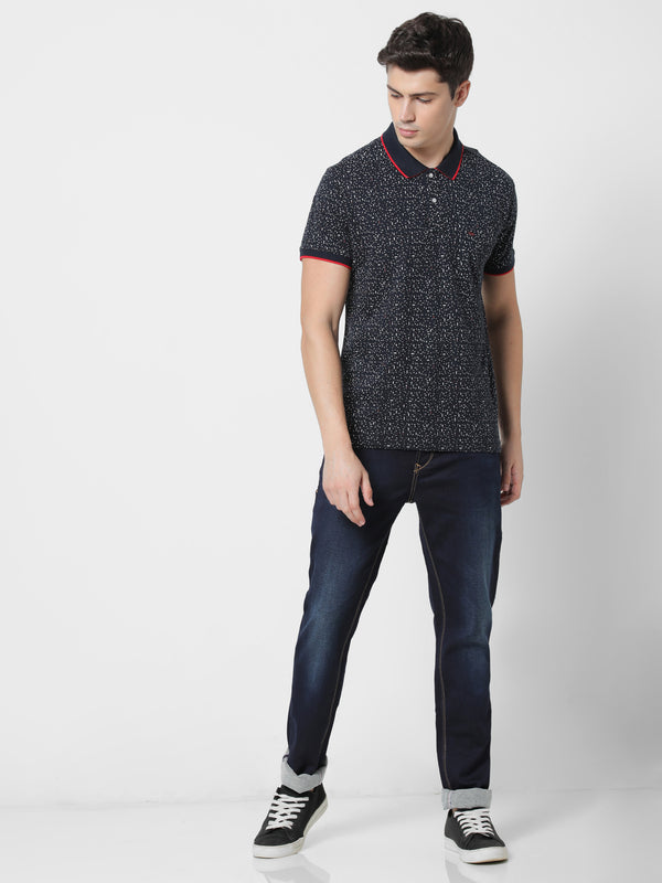 Navy Printed Casual T-Shirt